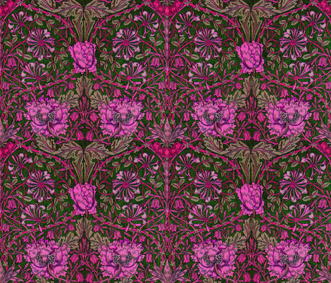 William Morris ~ Honeysuckle ~ Cheshire Cat fabric by peacoquettedesigns on Spoonflower - custom fabric