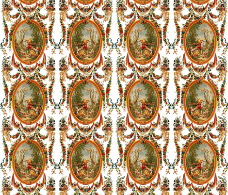 Rococo Swingers ~ Bright and White fabric by peacoquettedesigns on Spoonflower - custom fabric