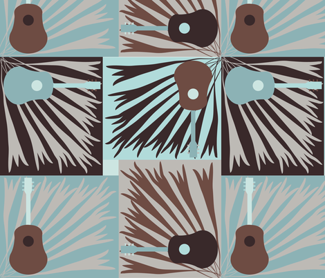 Guitar Power - Blue/Chocolate fabric by owlandchickadee on Spoonflower - custom fabric