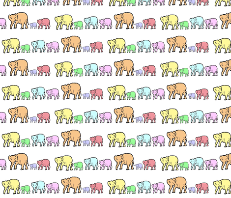 Marching Pastel Elephants fabric by theartwerks on Spoonflower - custom fabric