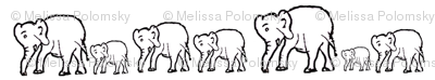 Marching Elephants Black Outline with White Background
