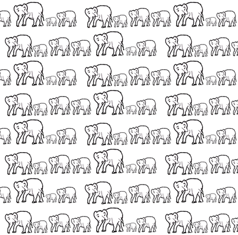 Marching Elephants Black Outline with White Background fabric by theartwerks on Spoonflower - custom fabric