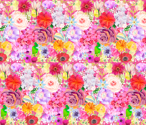 Summer Bouquet // Pink fabric by theartwerks on Spoonflower - custom fabric