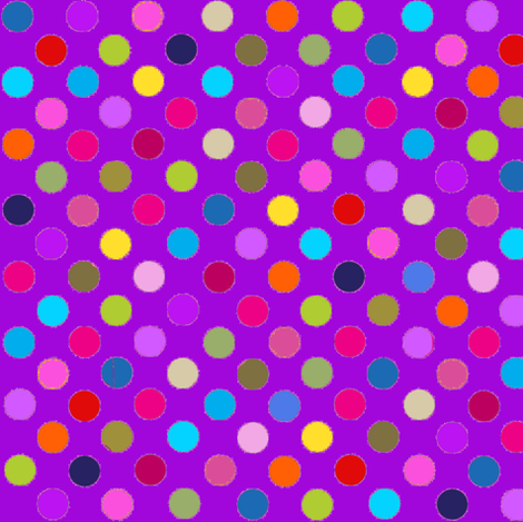Fancy Party! Multi POlka Dots on Purple fabric by parisbebe on Spoonflower - custom fabric