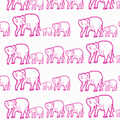 Hot Pink Elephants Marching in a Row