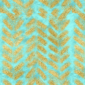 Bright Mint // Turquoise Watercolor + Gold Glitter Chevrons