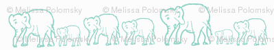 Tiffany Blue Elephants in a Row