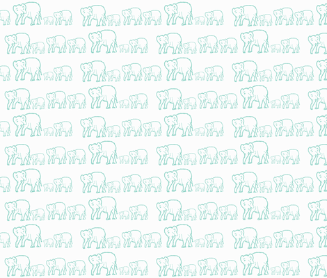 Tiffany Blue Elephants in a Row fabric by theartwerks on Spoonflower - custom fabric