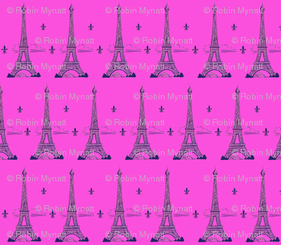 Eiffel Tower Navy/ Hotpink Paris Bound Paris Bebe