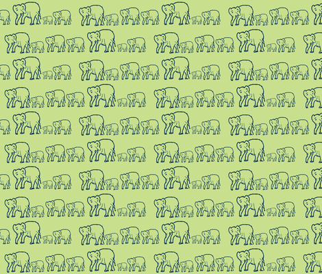 Elephants in a Row, Gender Neutral Green and Navy fabric by theartwerks on Spoonflower - custom fabric
