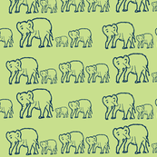 Elephants in a Row, Gender Neutral Green and Navy