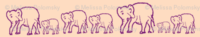 Purple Elephants in a Row, Light Pink Background