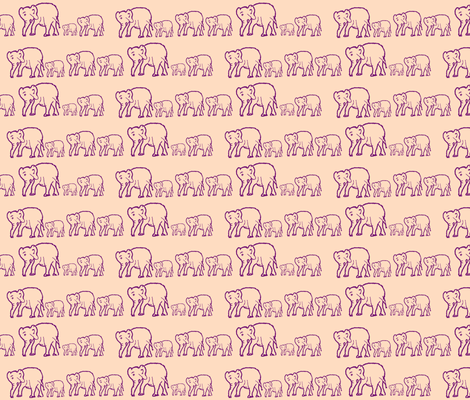 Purple Elephants in a Row, Light Pink Background fabric by theartwerks on Spoonflower - custom fabric
