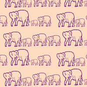Purple Elephants in a Row, Light Pink Background