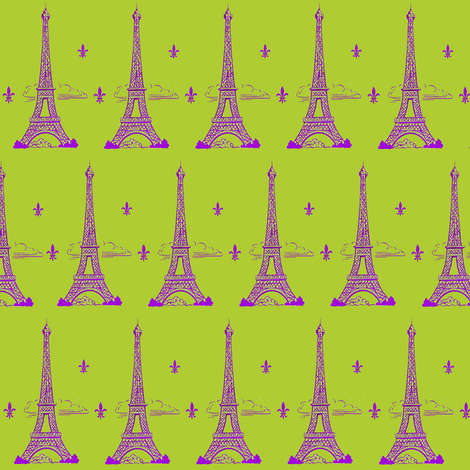 Eiffel Tower Paris Bound Purple/Lime Paris Bebe fabric by parisbebe_com on Spoonflower - custom fabric