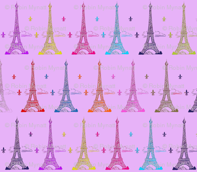 Eiffel Tower MULTI color on lt/purple Paris Bebe Paris Bound
