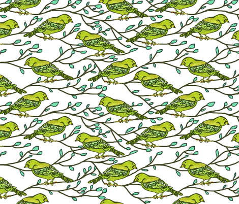 Green bird conference fabric by martaharvey on Spoonflower - custom fabric