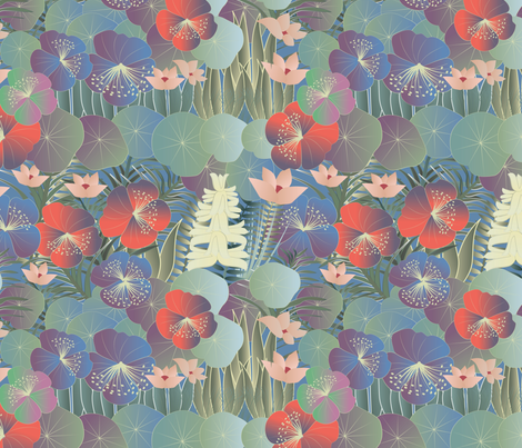 tropical flora on blue fabric by kociara on Spoonflower - custom fabric