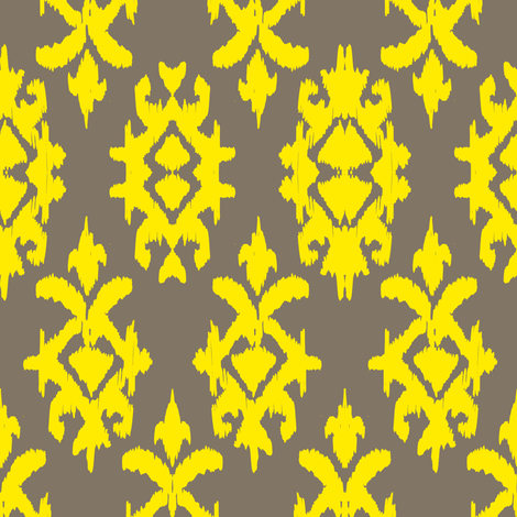 RAJAH IKAT - pebble + lemon fabric by marcador on Spoonflower - custom fabric
