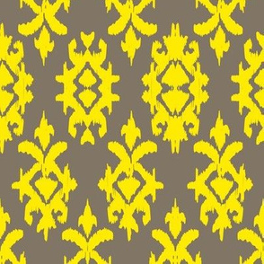 RAJAH IKAT - pebble + lemon