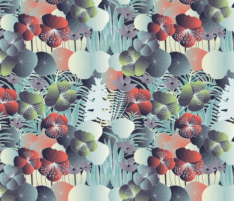 tropical flora at night fabric by kociara on Spoonflower - custom fabric