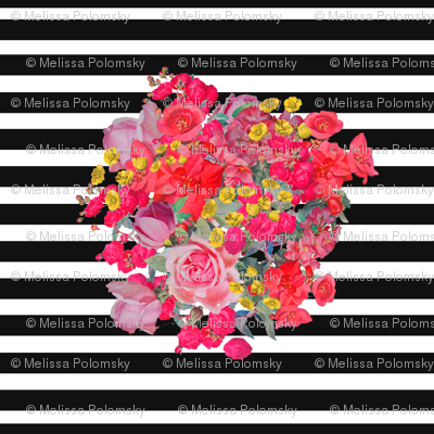 A bright antique inspired floral burst on a black and white stripe