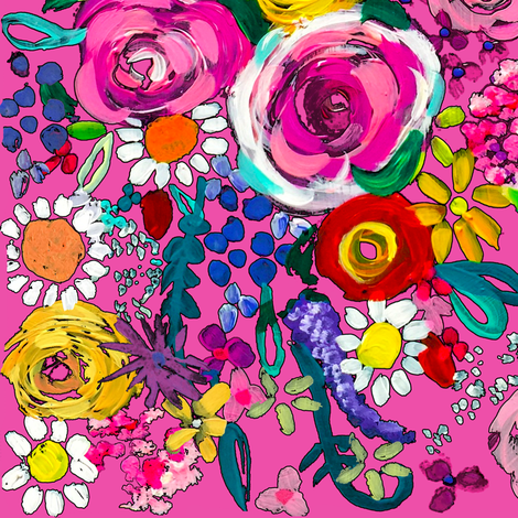 Les Fleurs // Hot Pink  fabric by theartwerks on Spoonflower - custom fabric