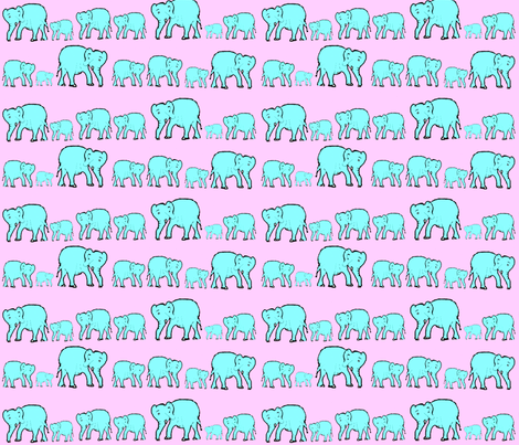 Elephants in a Row- Cotton Candy Colors fabric by theartwerks on Spoonflower - custom fabric