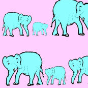 Elephants in a Row- Cotton Candy Colors