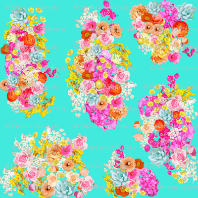 Bright Vintage Inspired Floral on Turquoise - Large Print
