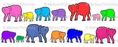 Bright Rainbow Elephants