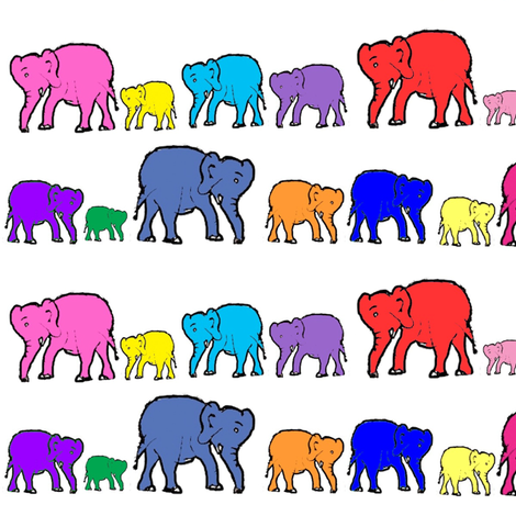 Bright Rainbow Elephants fabric by theartwerks on Spoonflower - custom fabric