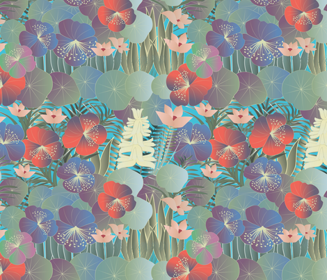 tropical flora bright fabric by kociara on Spoonflower - custom fabric