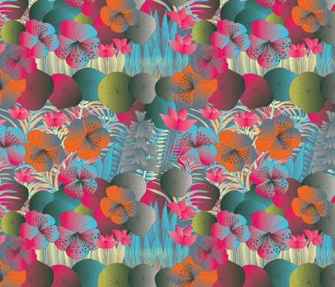 tropical flora vivid reds fabric by kociara on Spoonflower - custom fabric