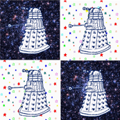 Whovian Inspired Hand Drawn DALEK on Rainbow Starfield