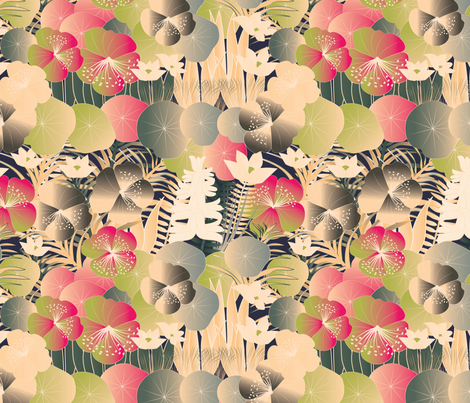 tropical flora cream fabric by kociara on Spoonflower - custom fabric
