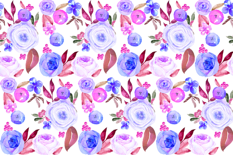 Sumer Blooms in Pinks, Blues, and Violets fabric by theartwerks on Spoonflower - custom fabric
