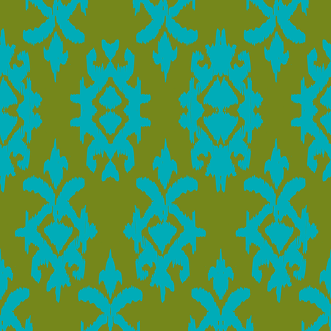 CONTESSA IKAT - moss + jade fabric by marcador on Spoonflower - custom fabric