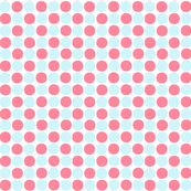 Teeny Tiny Circles Print in Ice Blue /Coral Pink