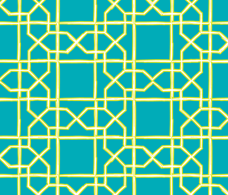 Cabana Trellis - teal + lime fabric by marcador on Spoonflower - custom fabric
