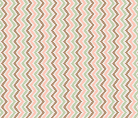 peach, mint, and brown chevron fabric by anjrogers0804 on Spoonflower - custom fabric