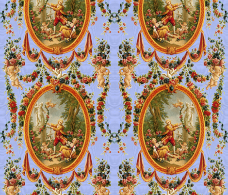 Rococo Swingers ~ King Louis Blue Moire fabric by peacoquettedesigns on Spoonflower - custom fabric