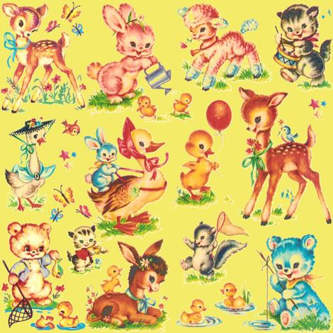 Favorite vintage Baby Animals Paris Bebe lt lime fabric by parisbebe on Spoonflower - custom fabric