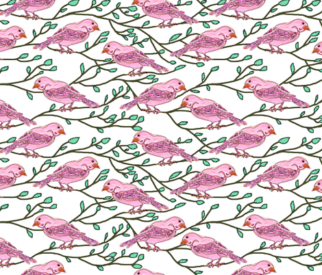 Pink bird conference fabric by martaharvey on Spoonflower - custom fabric