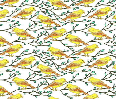 Yellow bird conference fabric by martaharvey on Spoonflower - custom fabric