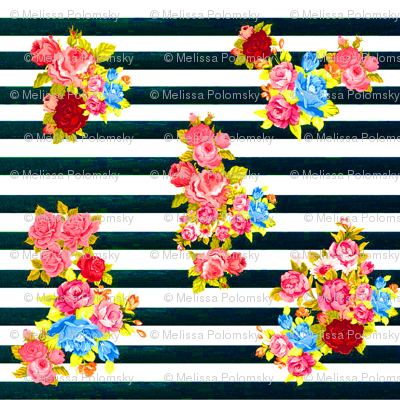 Vintage Floral Burst on Dark Navy Stripe