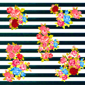 Vintage Floral Burst on Dark Navy Stripe
