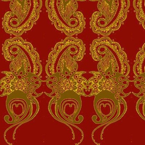 Paisley2-red/gold