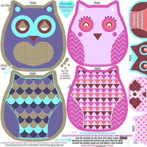 funky owls-cut and sew pattern