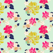 Jungle Passion Floral test mint background